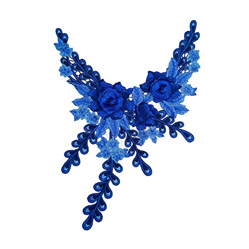 1 Stück 3D Venedig Spitzenstoff Kleid Applikation Motiv Bluse Nähen Besätze DIY Ausschnitt Kragen Kostüm Dekoration Zubehör blau -
