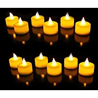 SATYAM KRAFT Acrylic Led Tea Light Candle For Home Decoration, Pack of 12 Pieces, Yellow, 2 cm