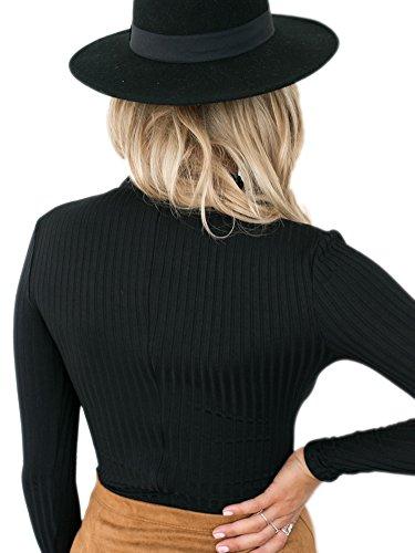 Simplee Apparel Damen Elegant Heiß Langarm Choker V-Ausschnitt Gestrickt Shirt Schwarz