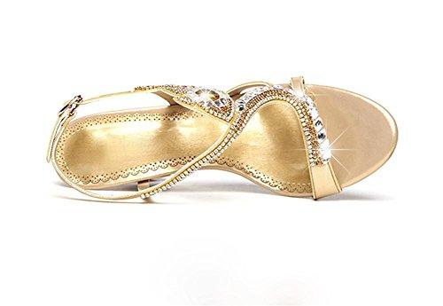 pengweiSignore e sandali in estate i tacchi di rugiada a punta di spessore e alla moda Gold
