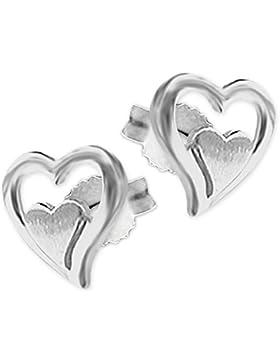 CLEVER SCHMUCK Silberne kleine Ohrstecker Herz 5 mm in 2-fach-Optik, außen offen glänzend, innen geschlossen matt...