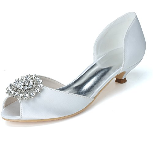 Clip Donna in Pelle con Heel Donna Sandal Hollow Clip in gemma White
