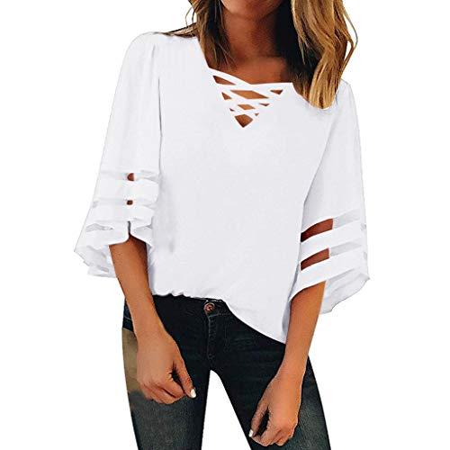 Frauen V-Ausschnitt Shirt JJYM Mesh Panel Panel Top 3/4 Bell Sleeve Lose Bluse Mode Wild Trend Sommerkleid Top Einfarbig Atmungsaktiv Bluse
