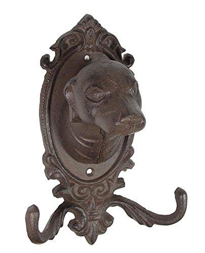 Rustikale Wand-Garderobe Hund 2 Haken Gusseisen Antik-Stil