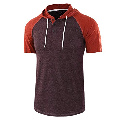 BURFLY Sommer Herren Casual Patchwork Kordelzug Kurzarm Hoodie Volltonfarbe Taste T-Shirt Top Oberteile Bluse
