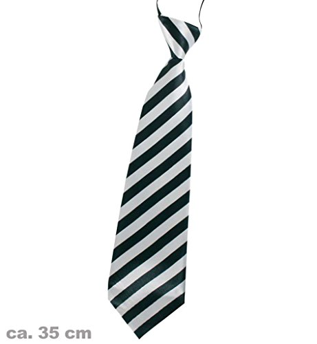 Krawatte gestreift, sortierte Farben, ca. 35 cm, Party, Karneval, Accessoire, St. Patrick's Day (weiß)