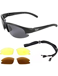 Rapid Eyewear Black DRIVING AND BIKER SUNGLASSES With Interchangeable Polarized and Night Anti Glare HD Amber Lenses. Driver Glasses For Men & Women. UV400 Protection
