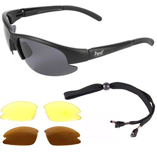 Rapid Eyewear Catch Pro POLARISIERTE Schwarz Sonnenbrille zum Angeln - ANGLERBRILLE, mit Wechselgläsern für Fliegenfischen, Friedfischangeln, Karpfenangeln, Hochseefischen usw. UV Schutz 400