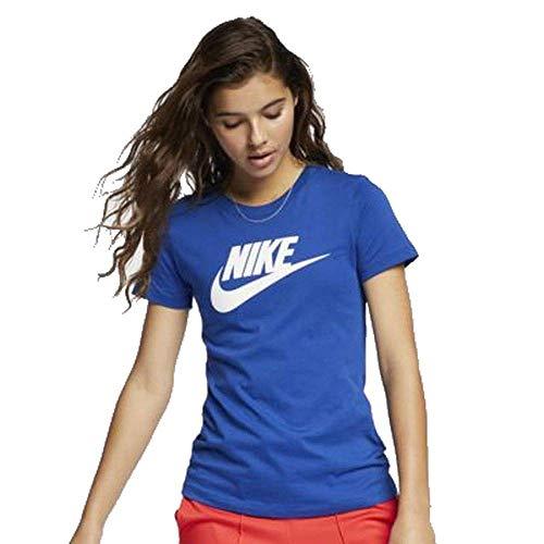 Nike Damen W NSW TEE ESSNTL ICON FUTURA T-shirt, Blau (indigo force), S - Nike Blaues T-shirt