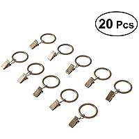 OUNONA - 20 Anillas de Hierro con Ganchos para Cortinas de Metal con Clips de 4 mm x 35 mm (Bronce)