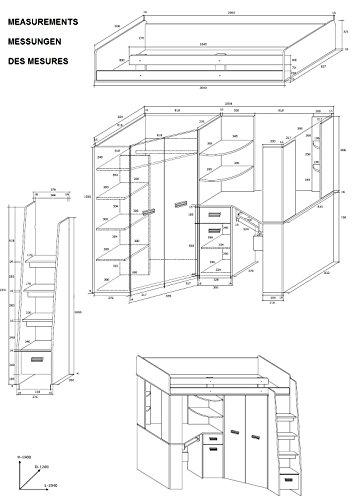 Hochbett/Etagenbett mit Treppe rechts oder links, alles-in-einem-Möbel-Set für Kinder mit Bett, Kleiderschrank, Regal und Schreibtisch Craft-white/Graphite - Left Hand-side Stairs. - 3