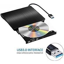 yododo CD unidad de DVD portátil óptico USB 3.0 externa DVD-RW quemador escritor con cable USB integrado para mac Air/Pro para portátil, Negro (nueva versión)