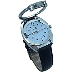 Stainless Steel Tactile Watch for Blind People--Battery Operated(Leather strap, blue dial)