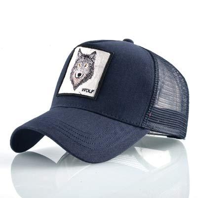 QYYDBQM Mode Trucker Hut Für Männer Sommer Atmungsaktives Mesh Baseball Cap Frauen Wolf Stickerei Kappe 56-60 cm Blau