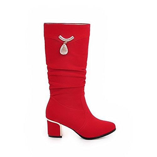 VogueZone009 Donna Tirare Tacco Medio Pelle Di Mucca Chiodato Stivali con Talismano Rosso