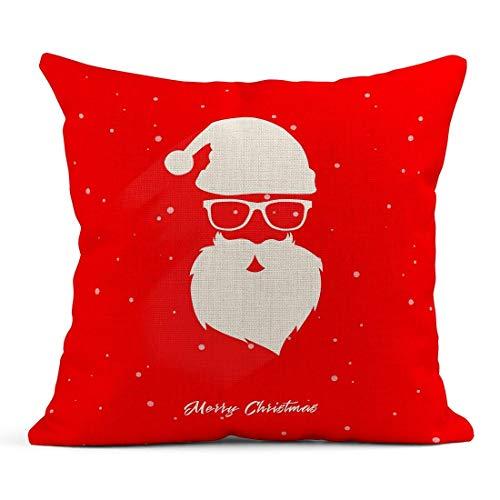Wurfs-Kissen-Bart-Kopf von Santa Claus auf rotem Weihnachtskappen-Karikatur-Feier-Leinen-Kissen-Ausgangsdekorativem Kissen -