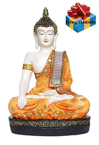 SN Handicrafts Idols Polyresin Sitting Buddha Idol Statue Showpiece Orange and White Products Available Only SN HANDICRAFTS