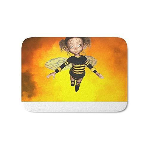 57bb265741 Jolly2T Little Bee Girl Golden Clouds Bath Mat 15.7