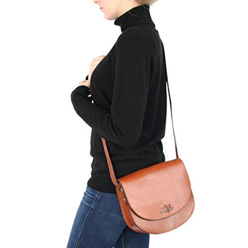 SID & VAIN Schultertasche TRISH - Umhängetasche - Damentasche festes Material - echt Sattelleder schwarz schwarz