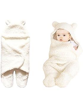 Kohmui Neugeborene Baby Schlafsack Weiß Decke für 0-12 Monate Baby, Wickeldecke Geschenk zur Geburt Junge Mädchen