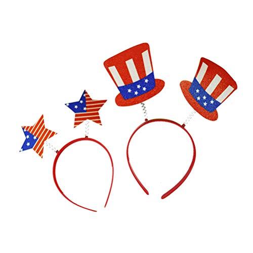triotische Head Boppers Stirnband Amerikanische Flagge Stern Top Hut Muster Haarband Kopfschmuck für Kinder Kinder. Juli Party Zubehör (zufälligen Stil) ()