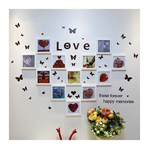 Kf 12 scatole di foto parete a forma di cuore in legno massello, combinazione creativa minimalista moderno di nozze di adesivi murali adesivi murali