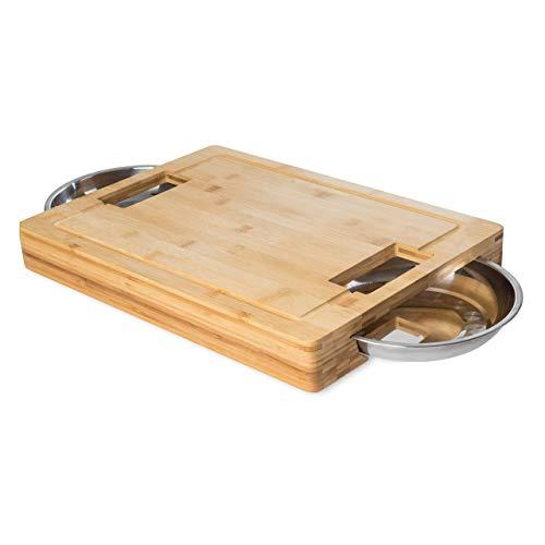 DiConcetto Schneidbrett mit Auffangschalen   Tranchierbrett   Bambus   rechteckig   XXL ✔ Antibakteriell ✔ Geneigter Saftrille ✔ Anti-Rutsch-Füße ✔ Beste Qualität ✔ 44,5 x 31 x 5,8