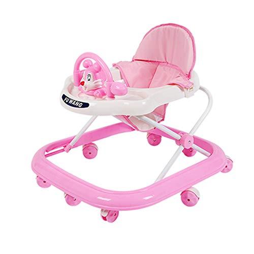 Justierbares Baby Trend Walker, Einfach Einzurichten, Zu Reinigen Und Zu Falten, 6-18 Monate Alt Leicht Zu Falten, Einstellbare Sitzhöhe, Fun Toys & Activities,Pink (Baby Walker Einfach)