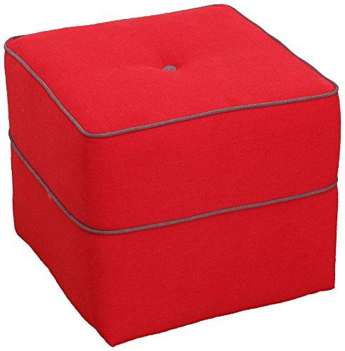 CANAPES TISSUS Retro Pouf Fixé, Polyester, Rouge, 42 x 42 x 40 cm