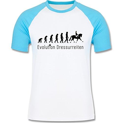 Evolution - Dressurreiten Evolution - zweifarbiges Baseballshirt für Männer  Weiß/Türkis