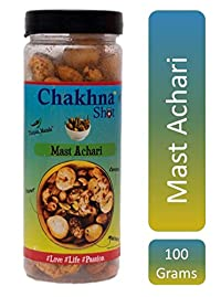 Chakhna Shot Mast Achari Flavour Jar – Pass time Snack – Ready to Eat Premium Healthy Indian Spicy Snack Mix – Masala Cashew Nuts, Peanuts and Foxnuts Mix Jar 100g (Pack of 2)