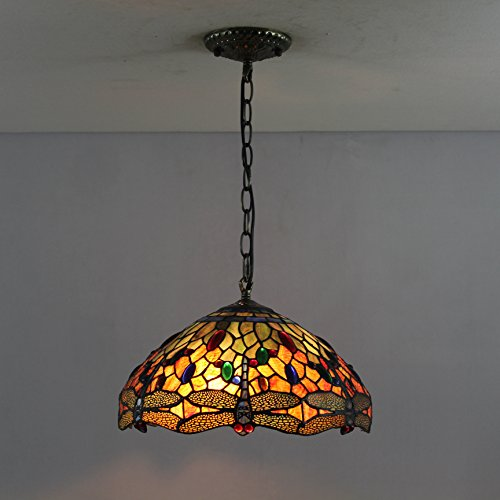 12 Pouces Vintage Dragonfly Stained Glass Tiffany Lampe De Plafond Suspension Salon Couloir Lumière Lampe