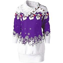 VEMOW Heißer Einzigartiges Design Mode Damen Frauen Frohe Weihnachten Schneeflocke Gedruckt Tops Cowl Neck Casual Sweatshirt Bluse(Y3-Violett, EU-38/CN-L)