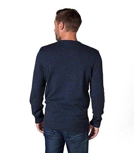 WoolOvers Baumwollpullover mit Rundhalsausschnitt in gedrehten Farben für Herren Midnight