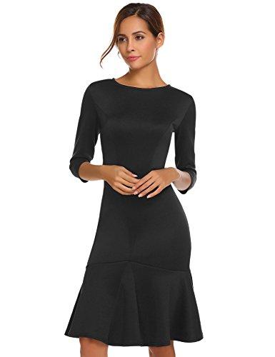 Meaneor Damen Herbst/Winter Meerjungfrau Figurbetontes Kleid Einfarbig Etuikleid Basic Businesskleid...