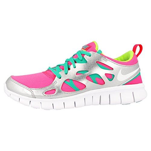 Nike Laufschuhe Free Run 2 (GS) Damen hyper pink-white-silber metallic-volt (477701-601), 38,5, pink