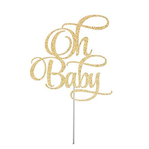 Oh Baby Cake Topper Baby Shower Gender Reveal Gender Neutral Shower Baby Sprinkle Baby Shower Dessert Table Decor Glitter Cardstock Topper