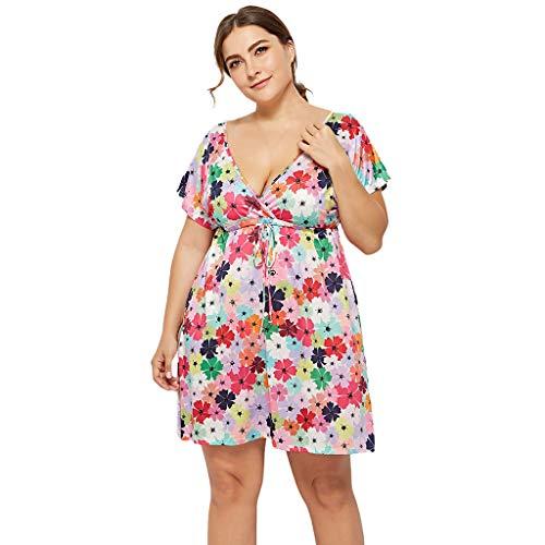 LOPILY Sommerkleider Damen Blumendruck Strand Party Karneval Blusenkleid Strandkleid Plus Size V-Ausschnitt Bequem Freizeit Blumen Minikleid Partykleid(Marine,EU-46/CN-2XL)