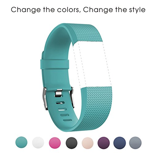 Sunface Fitbit Charge 2 Bands- Teal Classic Soft Silicone Adjustable Replacement Accessories Sport Strap Band for Fitbit Charge 2 Smartwatch Heart Rate Fitness Wristband