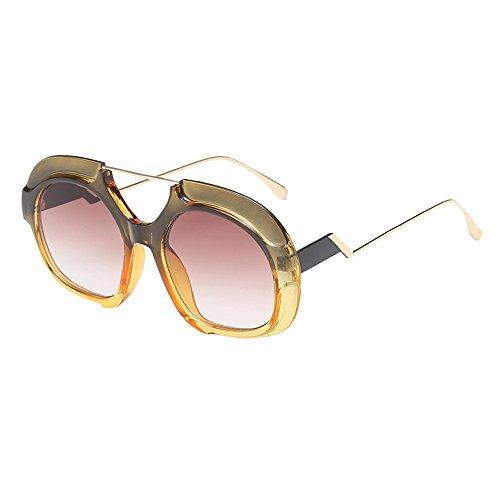 YAM DER Round Brille Für Frauen,Groß Frame Sonnenbrillestoffgläser,Metal Brille Beine,Anti-Blue Light,Anti-UV,Anti-Fog,Outdoor Sportbrille,Outdoor-Reitbrillen,Polarisierte, (E)