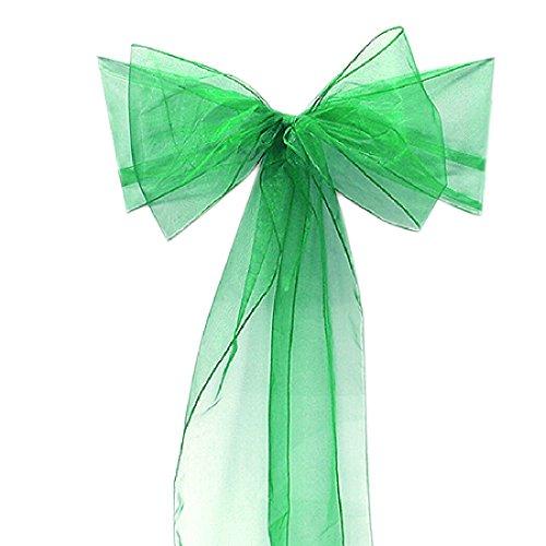 10 Organza Stuhl Band Schleife für Cover Bankett-Hochzeit Party Dekoration Water Green