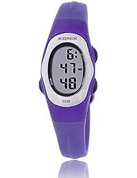 Reloj electrónico digital de múltiples funciones de los ni?os,Gelatina 50 m resina resistente al agua alarma cronómetro chicas o chicos peque?os simple moda retro reloj de pulsera-N