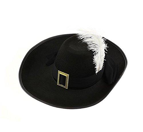 Karneval Klamotten Kostüm Hut Musketier Band schwarz Feder weiß Zubehör Fasching
