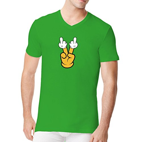 Fun Sprüche Männer V-Neck Shirt - Fun Shirt Doppelter Stinkefinger by Im-Shirt Kelly Green
