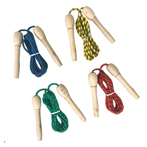 2,5m Kinder Bunte Springseil Sprungseil Seilspringen Nylonseil Verstellbar mit Holzgriff