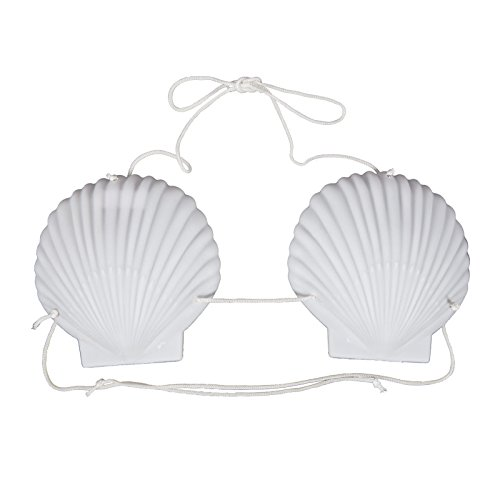 Hawaiian 15cm Shell Cup String Bra Bikini Fancy Dress Accessory Luau Beach Party ?