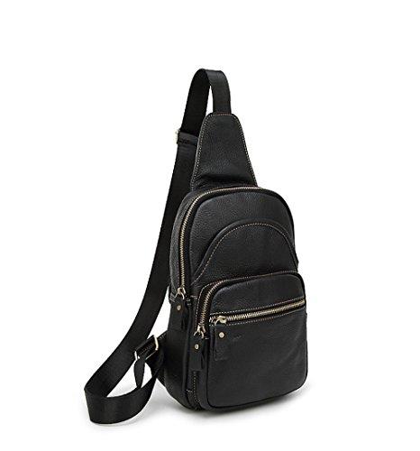 YULAN Männer Und Frauen Aus Echtem Leder Business Casual Sport Brusttasche / Reise Umhängetasche Sling Taschen Rucksack Umhängetasche Schwarz