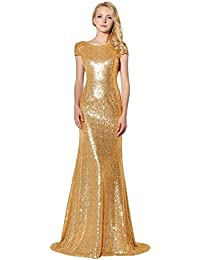 b42afb5162 Sarahbridal Long Evening Dresses for Women UK Sequins Prom Dress Gowns  Wedding Ball Party Dresses Ladies Bridesmaid Dresses…