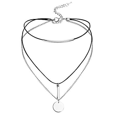 Daesar Choker Damen Halskette Halsband Edelstahl Multilayer mit Runde Anhänger Halskette Silber Schwarz,31.8CM (+8cm (Platin Inner Ring)