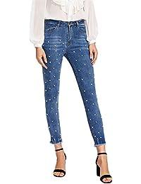34cd972411ac9 FuweiEncore Pantalones Vaqueros Azul Slim fit Mujer (Color   Azul
